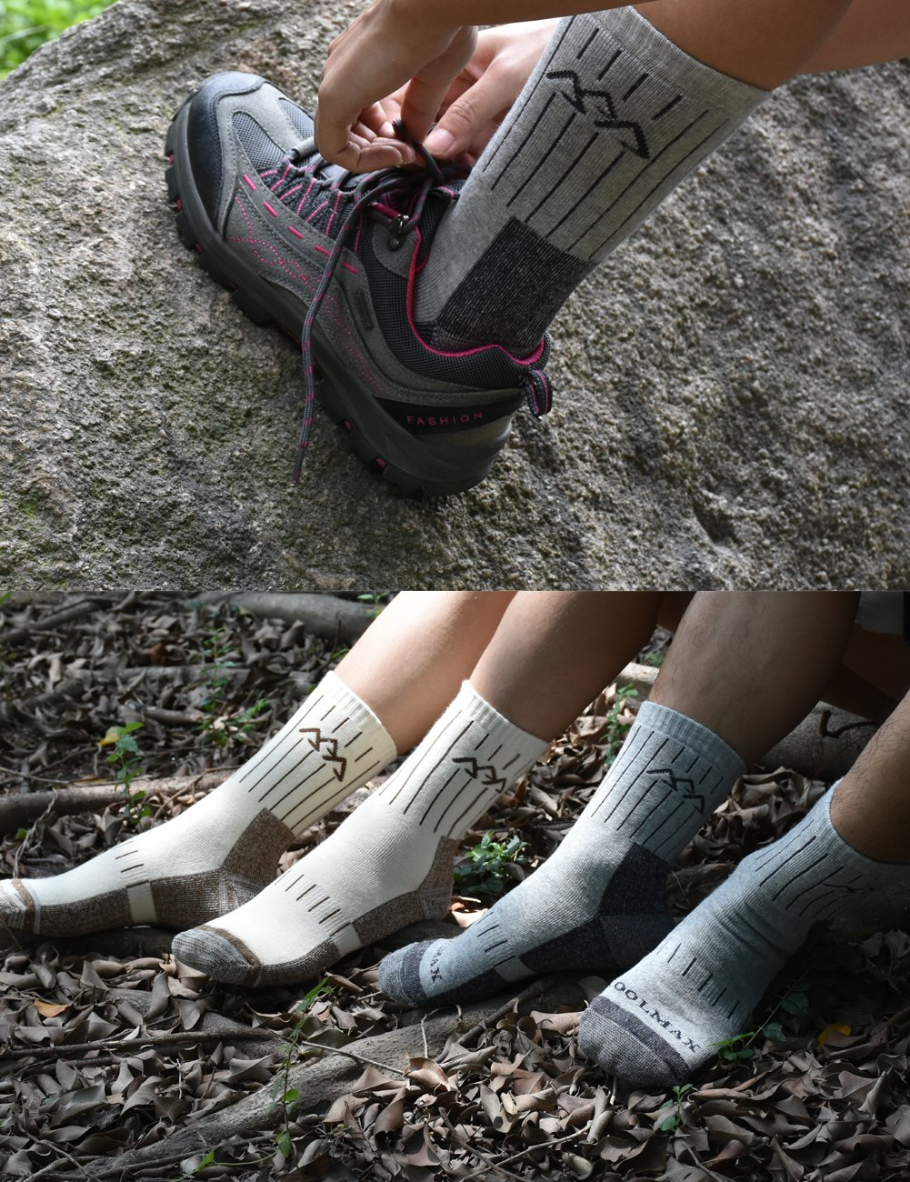 SUDILO Crew Cushion Hiking Trekking Socks,Coolmax Multi Performance Antiskid Wicking Outdoor Athletic Socks by SUDILO (Image #6)