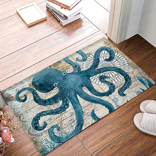 Door Mat Bathroom Rug Bedroom Carpet Bath Mats Non-Slip Octopus mushroom