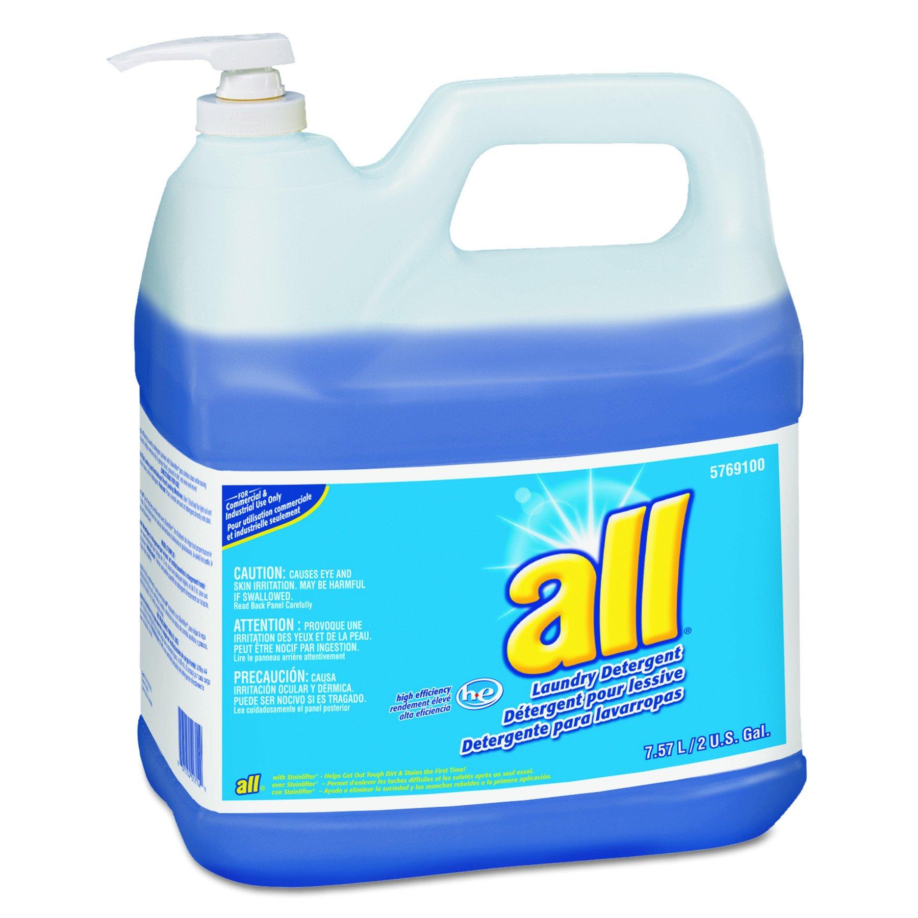 All 95769100 HE Liquid Laundry Detergent, Original Scent, 2gal Pump Bottle (Case of 2)