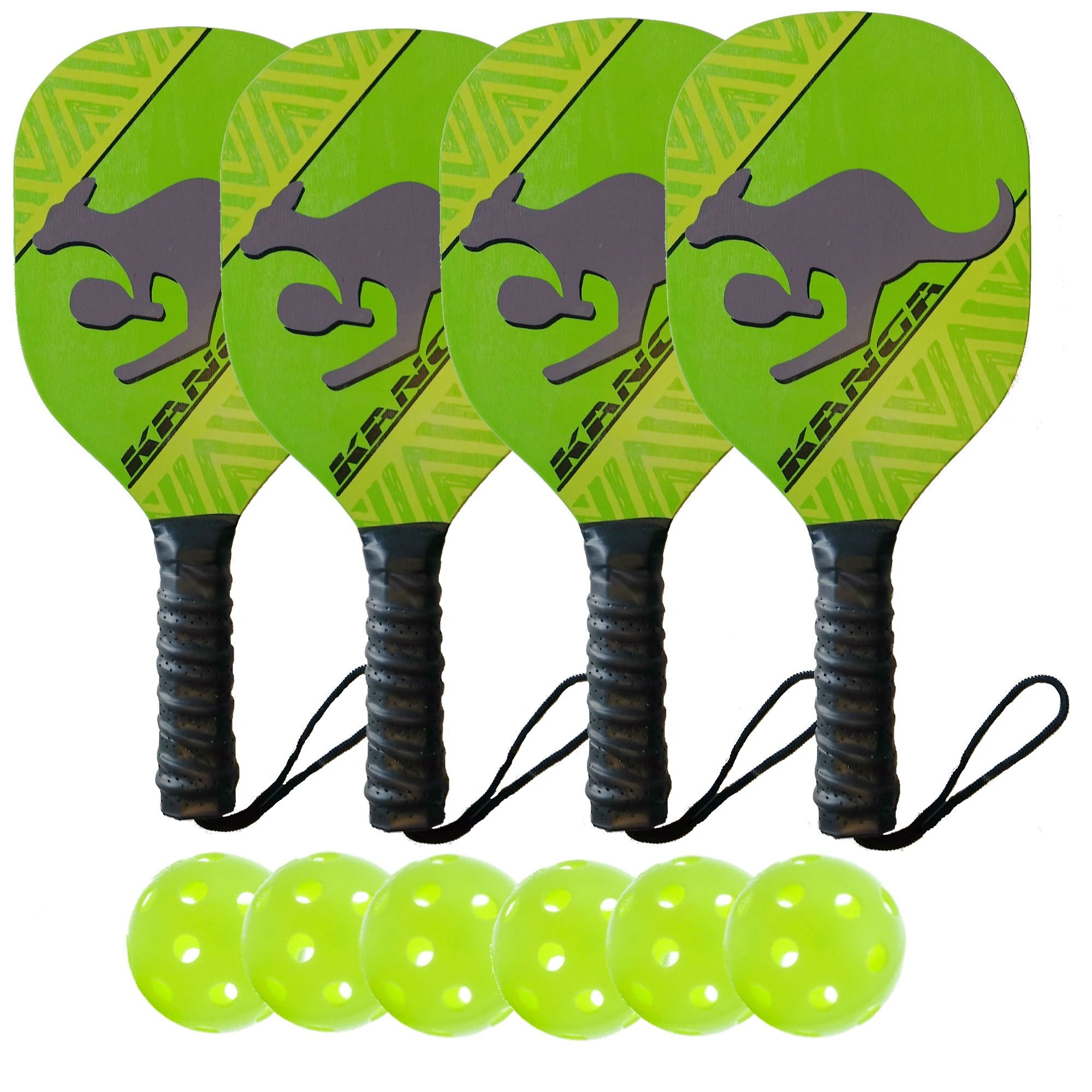 Kanga Beginner Pickleball Paddle Bundle | Set Includes 4 Pickleball Paddles/6 Pickleball Balls | Durable Wood Paddle Construction with Comfort Cushion Grip by PickleballCentral