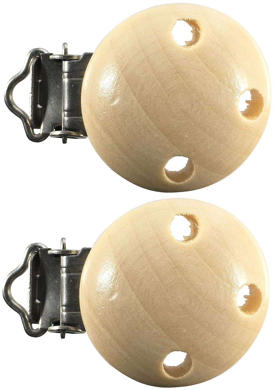 Farbe:natur Anzahl:2 Schnullerclips Schnullerclip Farbe Menge Auswahl Holz schadstofffrei Nuckelclip Baby Clip