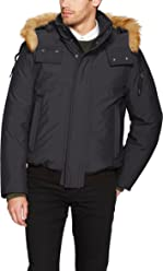 Marc New York by Andrew Marc Mens Lowell Insulated Bomber Jacket with Removable Hood