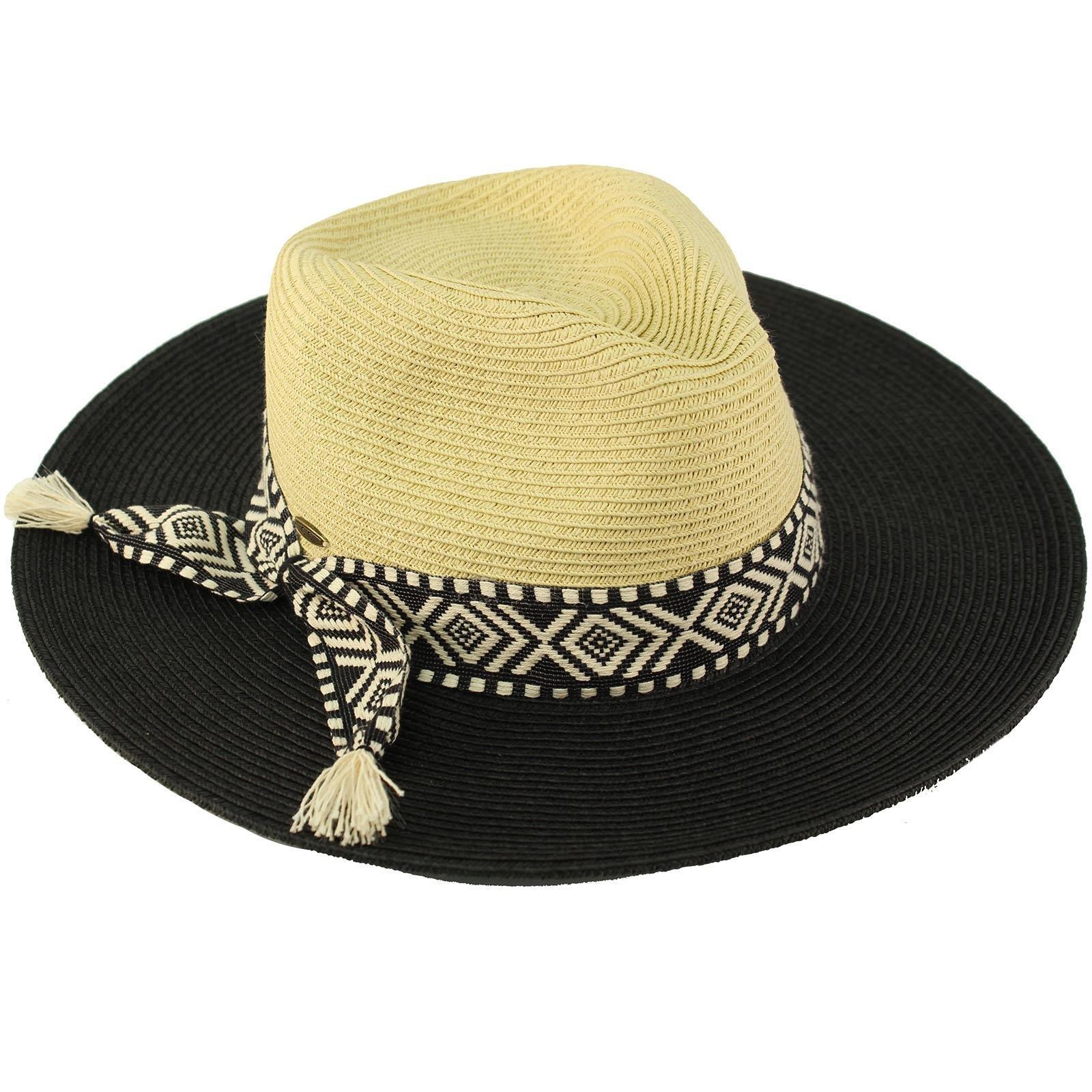 C.C Aztec Tassel Panama 2tone Fedora Wide Brim Summer Beach Pool Sun Hat Black