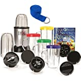 Compact Countertop Magic Bullet Blender Multipurpose Appliance 18-Piece Express Mixing Set, Bones 10 Second Recipe Book Plus 1 Prestee Premium Yoga Strap
