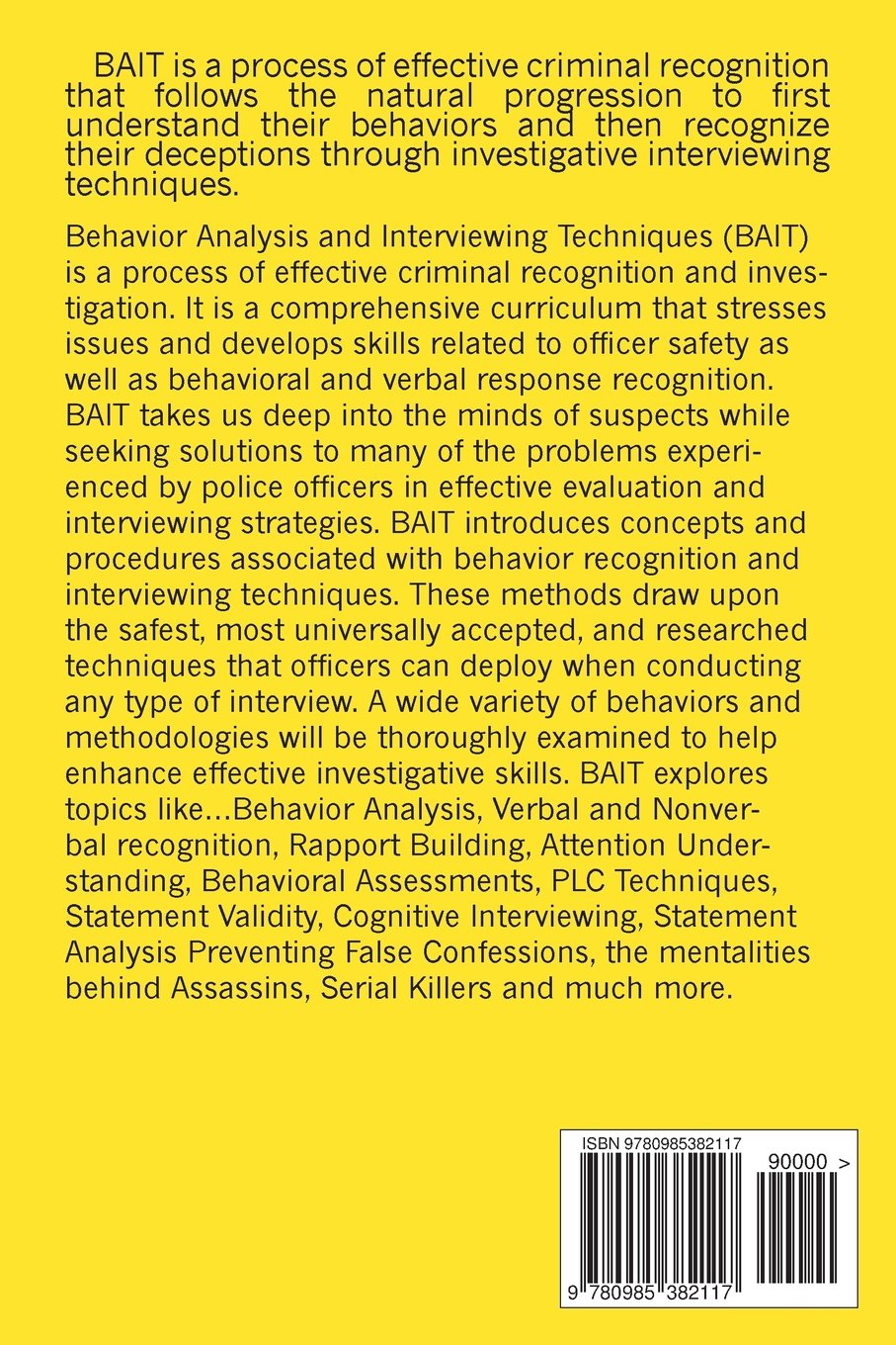 behavior analysis and interviewing techniques bait steven behavior analysis and interviewing techniques bait steven varnell 9780985382117 com books