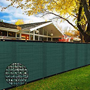 TOPNEW 6' x 50' Heavy Duty Privacy Screen Fence, 90% Blockage Green Mesh Shade Net Cover with Brass Grommets for Garden, Yard, Wall, Backyard, Chain Link Fence - Includes 75 Zip Ties (6' x 50', Green)