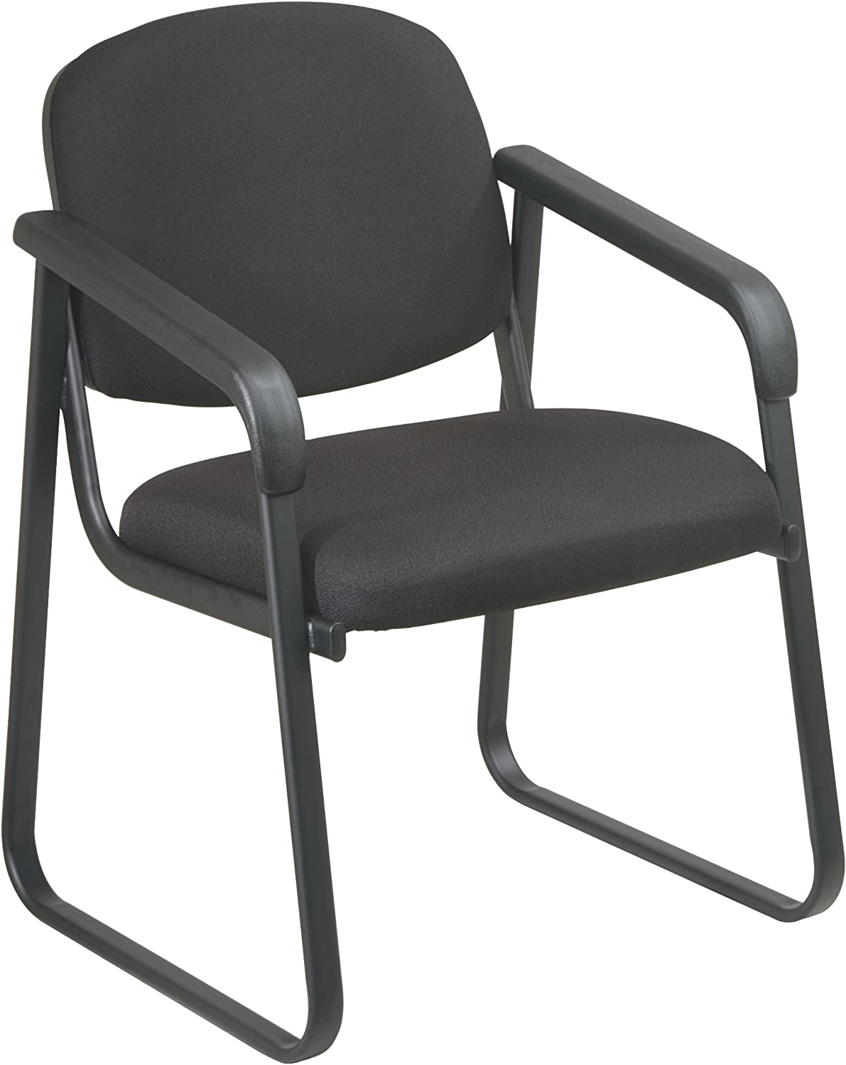Office Star Molded Foam Seat and Back Deluxe Visitors Arm Chair with Plastic Shell Back and Sled Base, Black