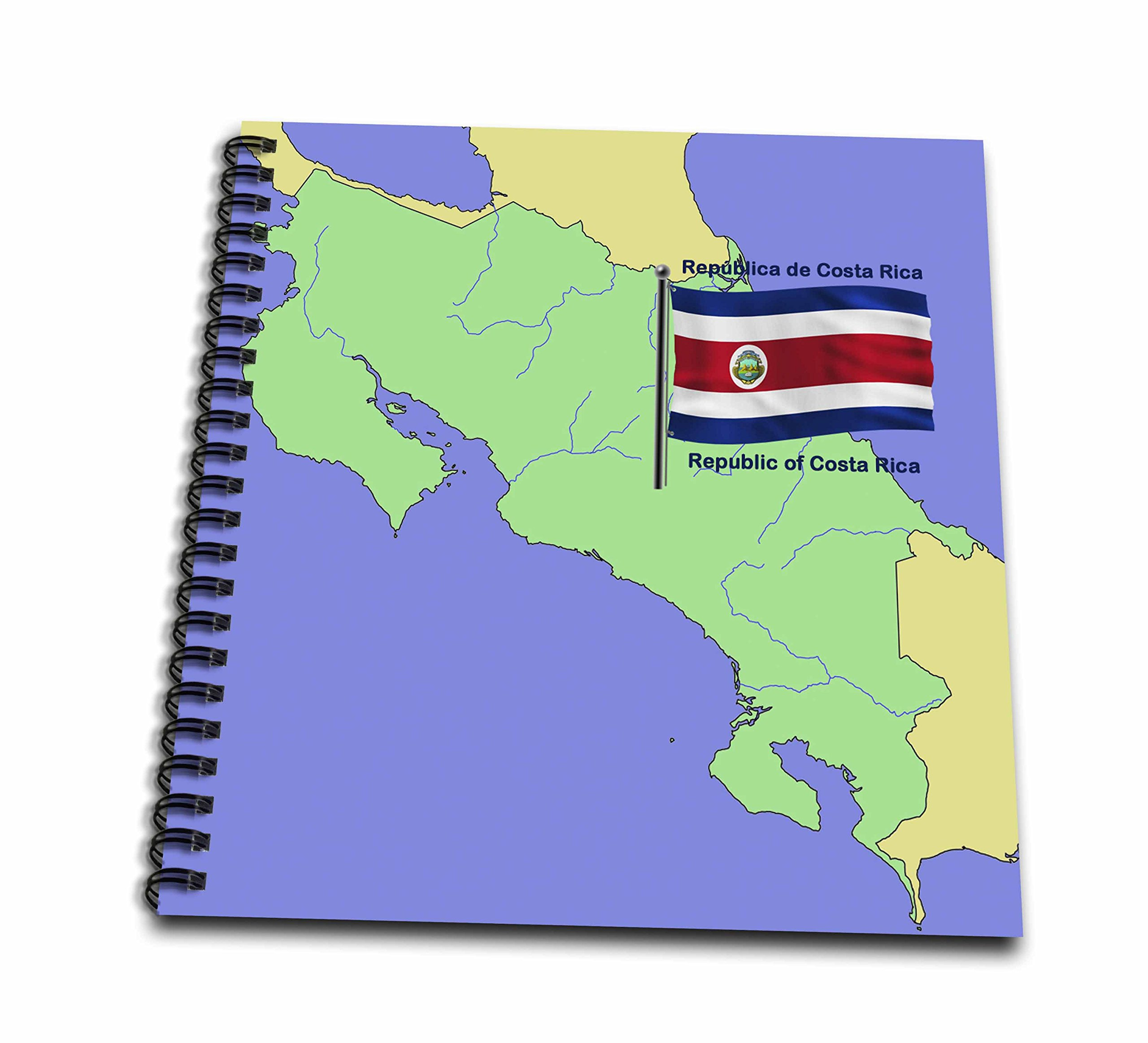 3dRose db_47675_2 Flag and Map of Costa Rica with Republic of Costa Rica Printed in Both English and Spanish Memory Book, 12 by 12-Inch by 3dRose