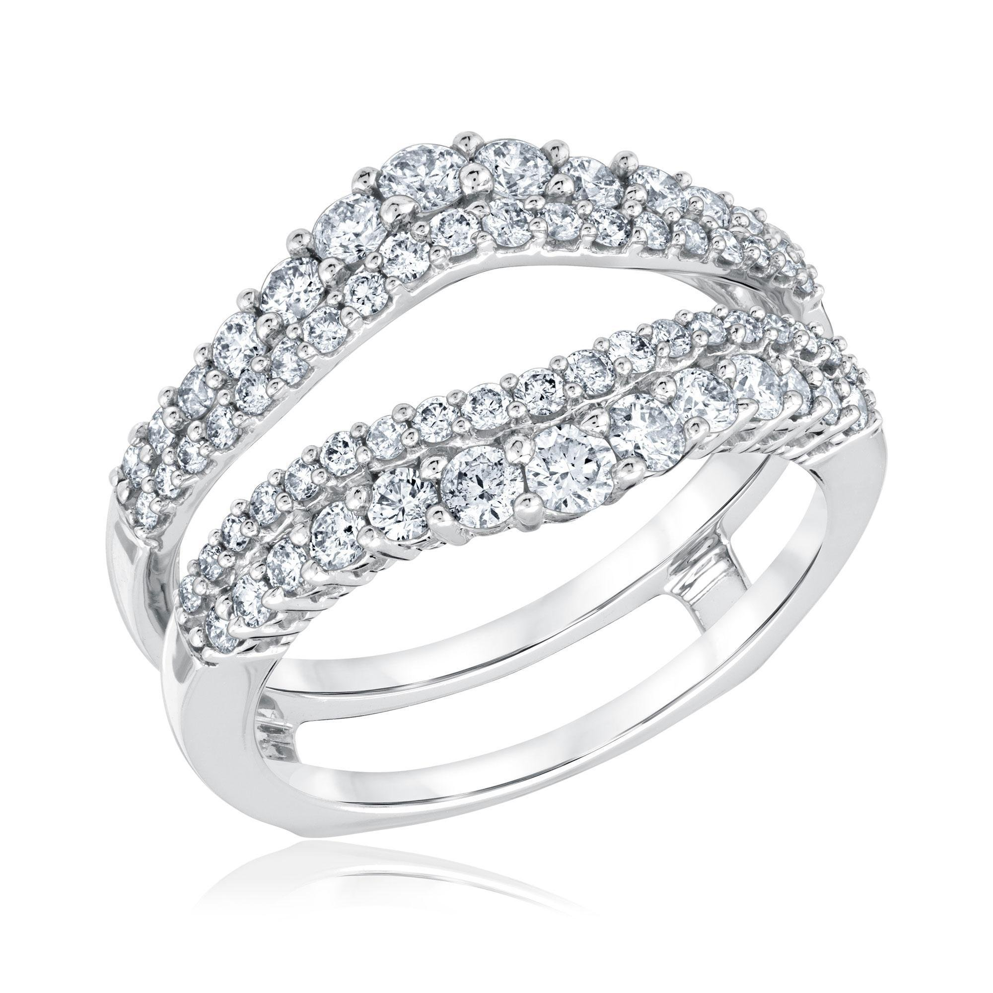 Star Retail 14k White Gold Plated Double Wedding Ring Guard Enhancer with Cubic Zirconia …