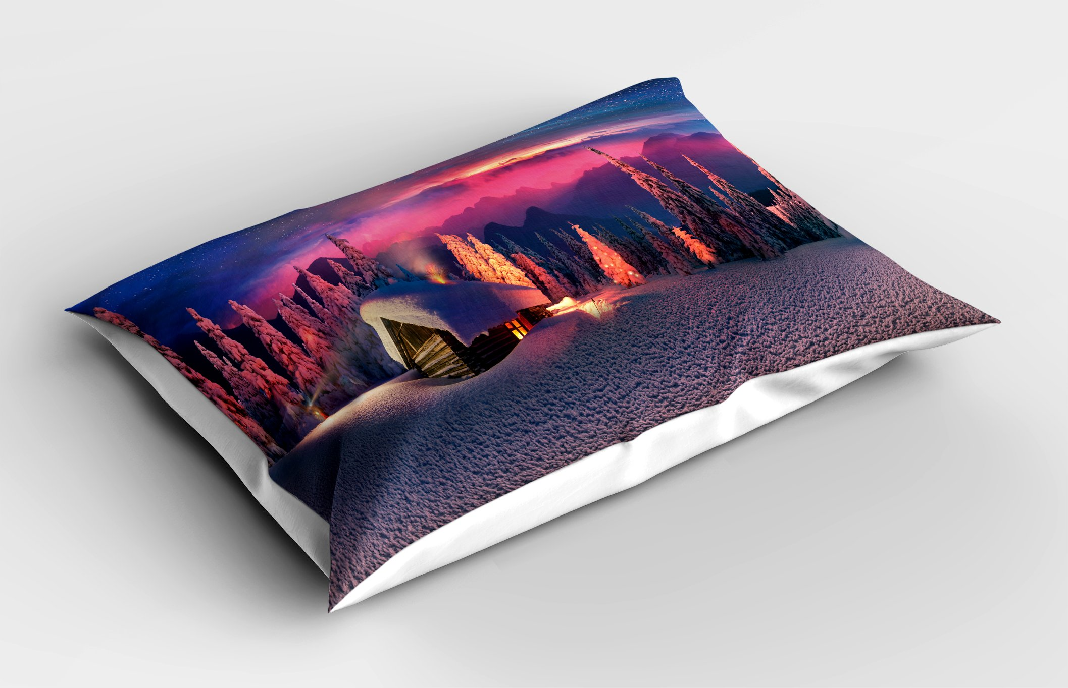 Ambesonne Milky Way Pillow Sham, Wild Alpine Scene with Cabin in The Woods Winter with Starry Skyline Illustration, Decorative Standard Queen Size Printed Pillowcase, 30 X 20 inches, Multicolor by Ambesonne (Image #2)