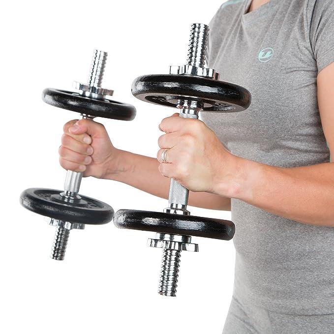 Ultrasport fundido de conjunto de mancuernas de 30 kg, 2 x 35 cm Barra de pesas con 8 x 2,5 kg y 4 discos de 1,25 kg: Amazon.es: Deportes y aire libre
