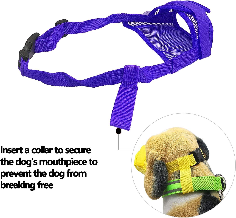 M, Azul YAODHAOD Bozales de Boca de Perro Transpirable de Malla de Nylon para Evitar Morder y Gritar para Evitar Comer Accidentalmente Cubierta de Boca de Mascota
