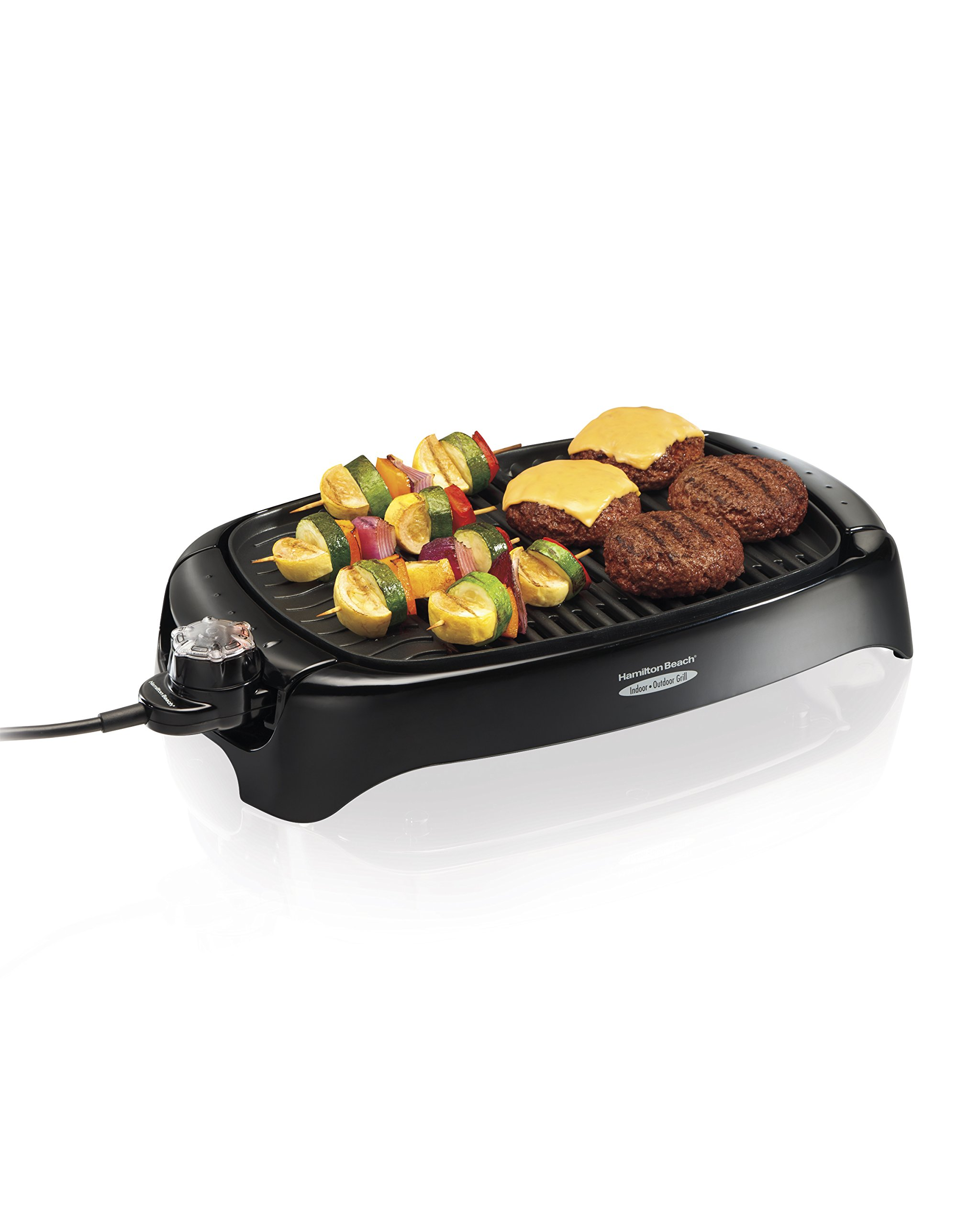 Hamilton Beach 8-Serving Electric Indoor/Outdoor Smokeless Grill, Dishwasher Safe, Adjustable Temperature Control (31605N), Black by Hamilton Beach