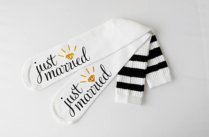Just Married Bride Socks Knee High Wedding Socks Honeymoon Gifts Engagement Socks Bridal Shower Gift Bride