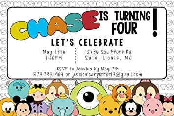 Custom Birthday Party Invitation - Tsum Tsum, Personalized