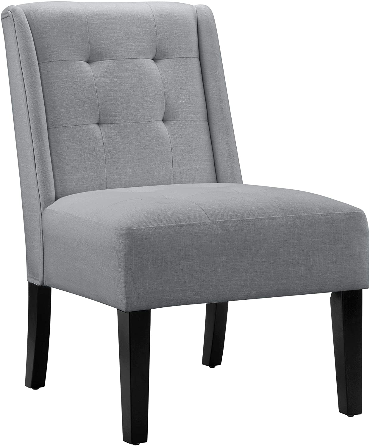 AmazonBasics tufted accent chair with wood legs, Grey