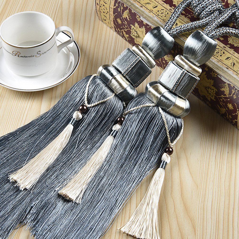 KISENG 1 Pair Window Curtain Tieback Tassel Curtain Cord Window reatments Home Decor (Gray Blue)