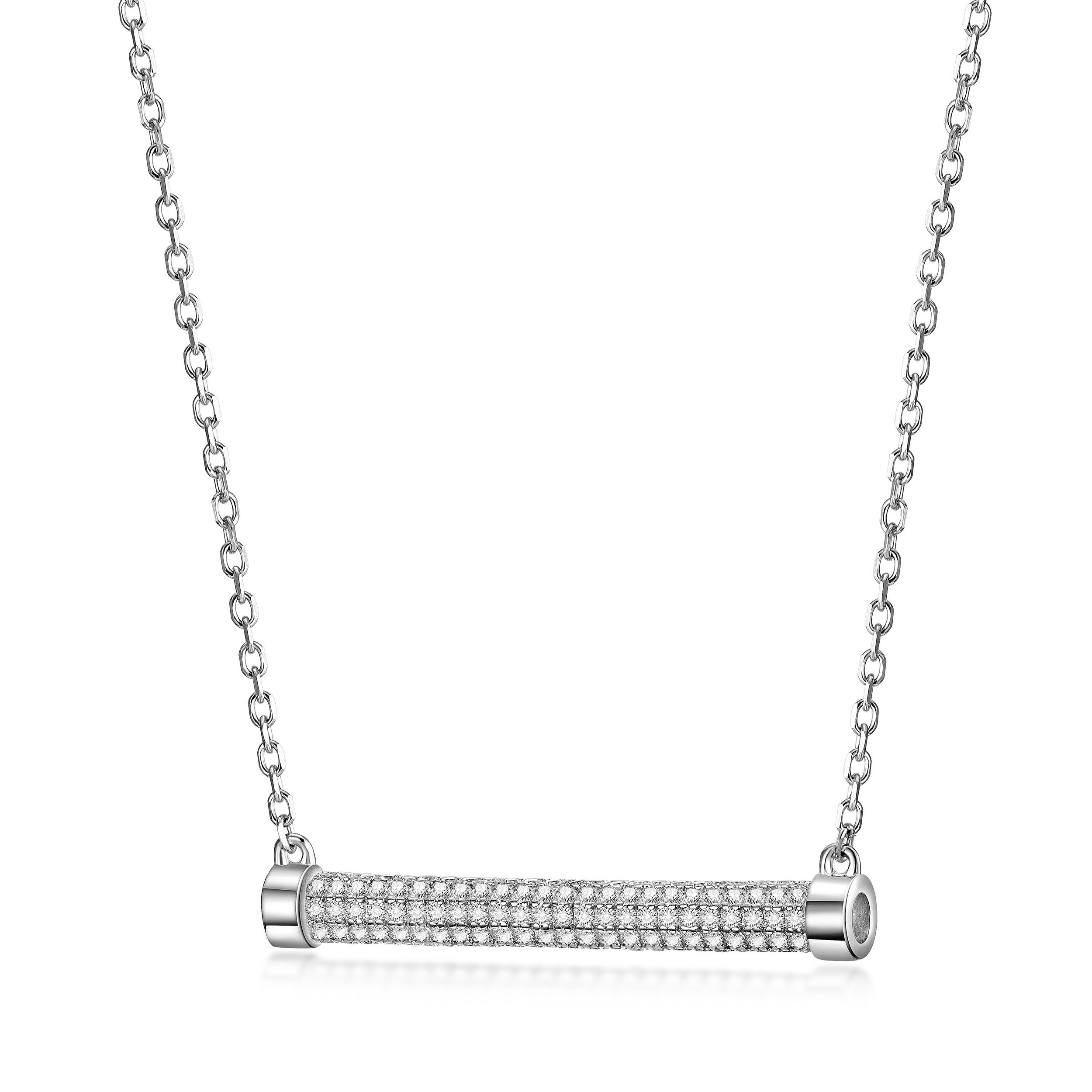 Wistic Bar Pendant Necklace Sterling Silver Necklace for Women Adjustable Chain with Cubic Zirconia Paved