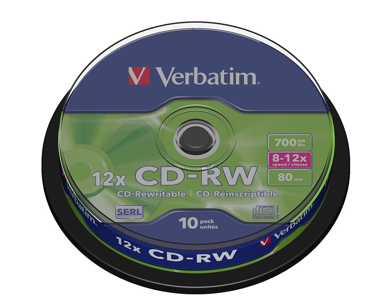 Verbatim Cdrw 80min 700mb 8-10x Scratch resistant 10pk spind 1795079