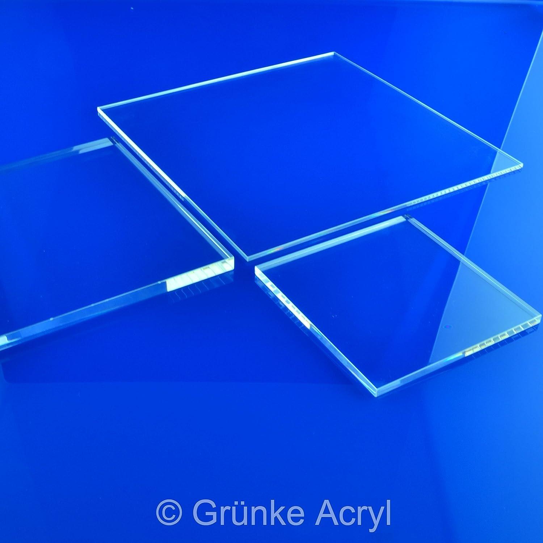300mm x 300mm Acryl Gr/ünke/® 8 mm Acrylglas XT farblos klar Zuschnitt Platte