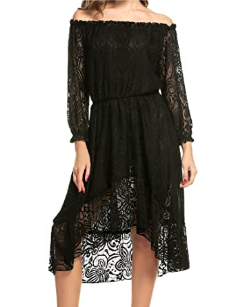 9bb734a1ec8d Zeagoo Women Summer Off The Shoulder 3 4 Sleeve Floral Lace Twin Set Party  Dress