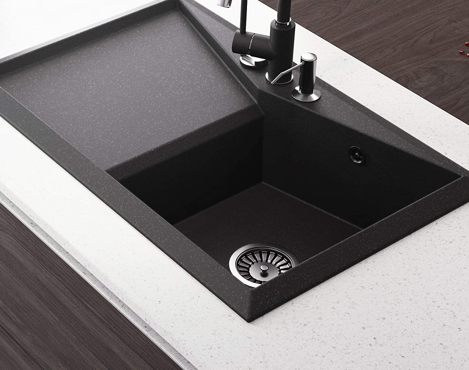 Black Sink Lavello Diamond 100LT 32 Granite Sink Composite Drop In Single Bowl Big Range of Kitchen Sinks Drainboard Position Left