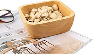 Wooden Square Bowl,Wood Salad Pasta,Fruit,Dessert,Cereal,Snack Nut Cookies Bowl,Home Kitchen Decoration,Perfect Gift 5.9