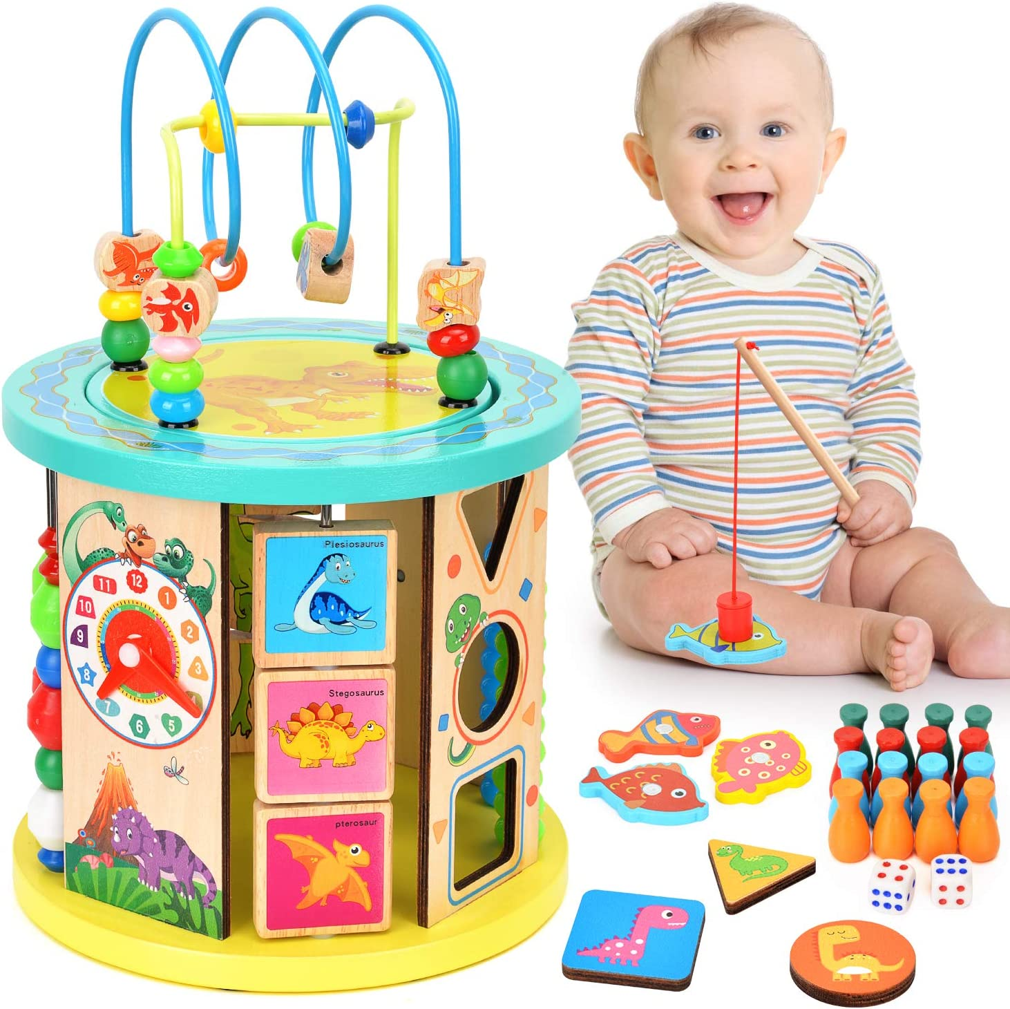 BATTOP 10 in 1 Multifunction Wooden Activity Cube Toys,Baby Wooden Bead Maze Educational Toys for 1 Year Old Boys & Girls Activity Center, Great Gift Toys for Kids Little Girls & Boys Age 1、2、3、4、5、6