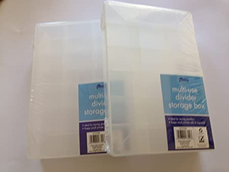 2 X Hobby Craft Box Case 24cm X 16cm Clear 18 Compartments Storage