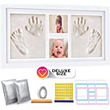 Deluxe Size Baby Hand and Footprint Kit - 16 x 9 inches Baby Picture Frame Kit | Non Toxic No Bake Clay Keepsake Frame…