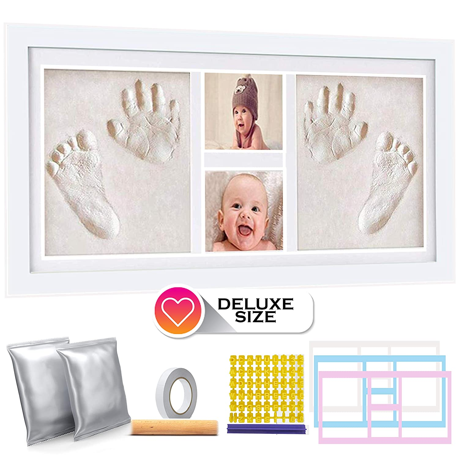 Deluxe Size Baby Hand and Footprint Kit - 16 x 9 inches Baby Picture Frame Kit | Non Toxic No Bake Clay Keepsake Frame - Baby Shower Present | Newborn Baby Gift | Twin Babies | 600 Grams of Clay