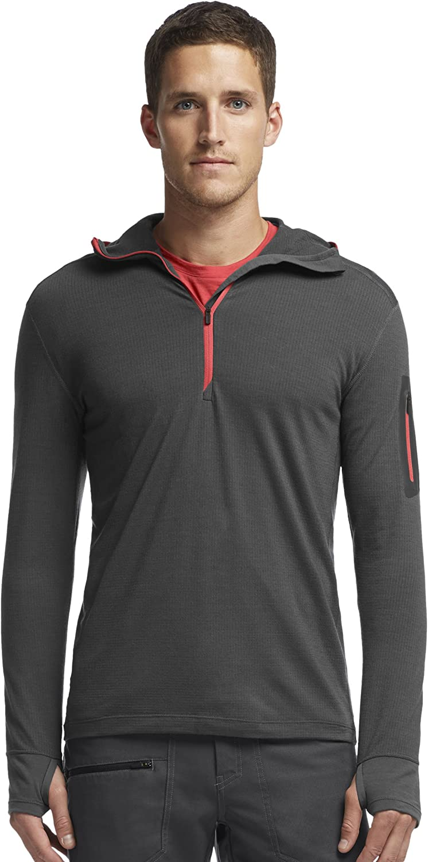 Icebreaker Herren Kapuzensweater Compass Long Sleeve Half Zip Hood