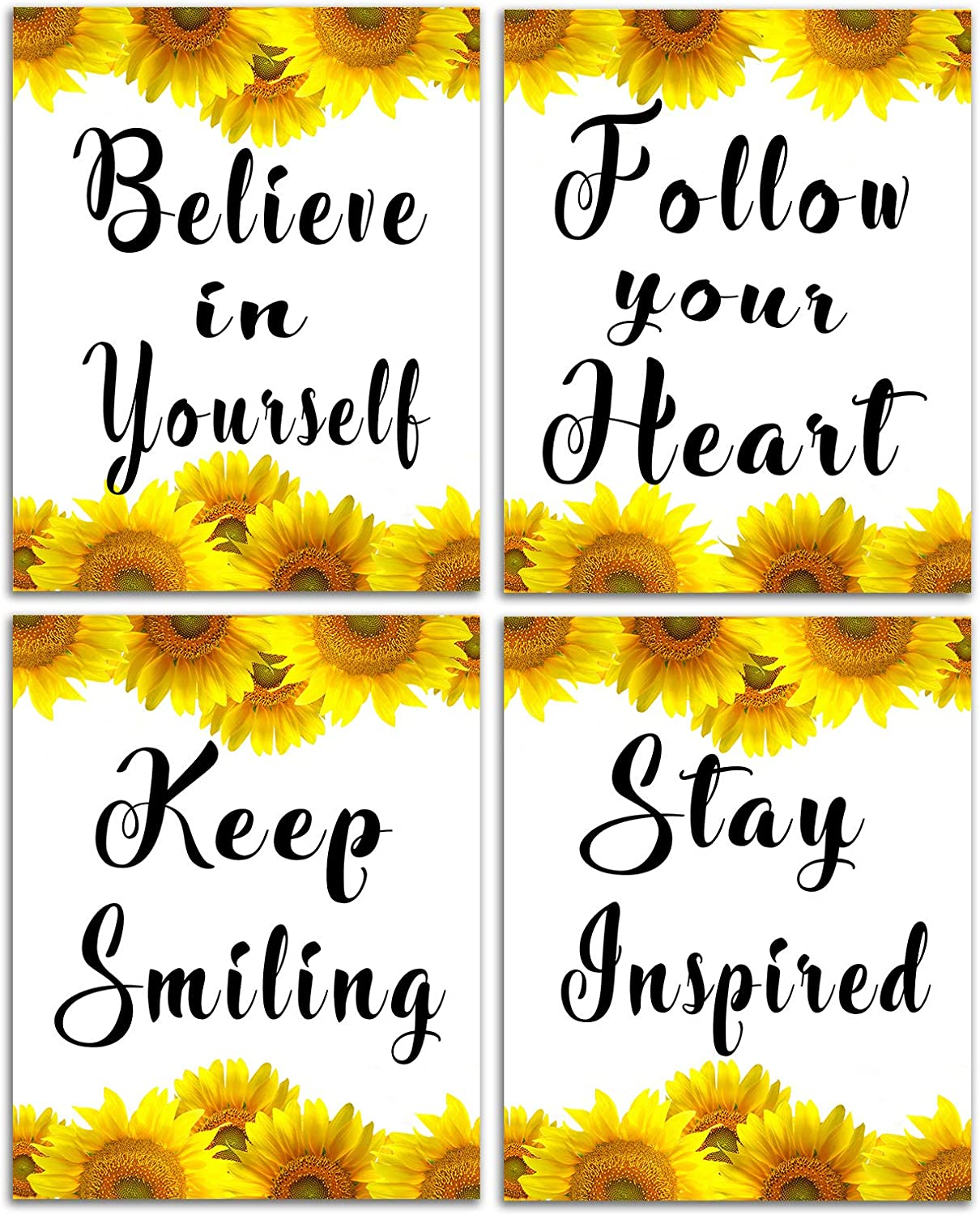 Sunflower Decor Inspirational Wall Art - Motivational Poster Phrase Canvas Print Positive Quotes for Women Men Bathroom Bedroom Sayings Paintings Artwork Modern Rustic Decorations 8x10inch Unframed