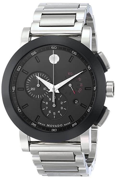 ab172962e Amazon.com: Movado Men's 0606792 Museum Sport Stainless Steel Watch with Black  Dial: Movado: Watches
