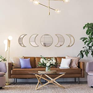 Delmach Moon Phase Mirror Set | Boho Wall Decor | Real Pine Wood | Bohemian Decorative for Home Living Room Bedroom Bathroom | Spiritual | Chic Hippie Art | New Adhesive Stickers | Acrylic Mirrors