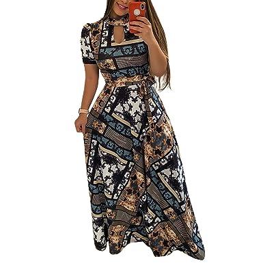 5862b6d2596 Uinolo Women s High O-Neck Floral Printed Maxi Dresses Waist Bandage Short Sleeve  Long Dress