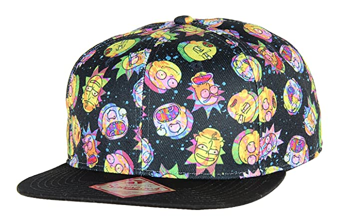 3ed6ff9fe56 Image Unavailable. Image not available for. Colour  bioworld Adult Swim Rick  and Morty Multi Face Expressions All Over Print Snapback Hat