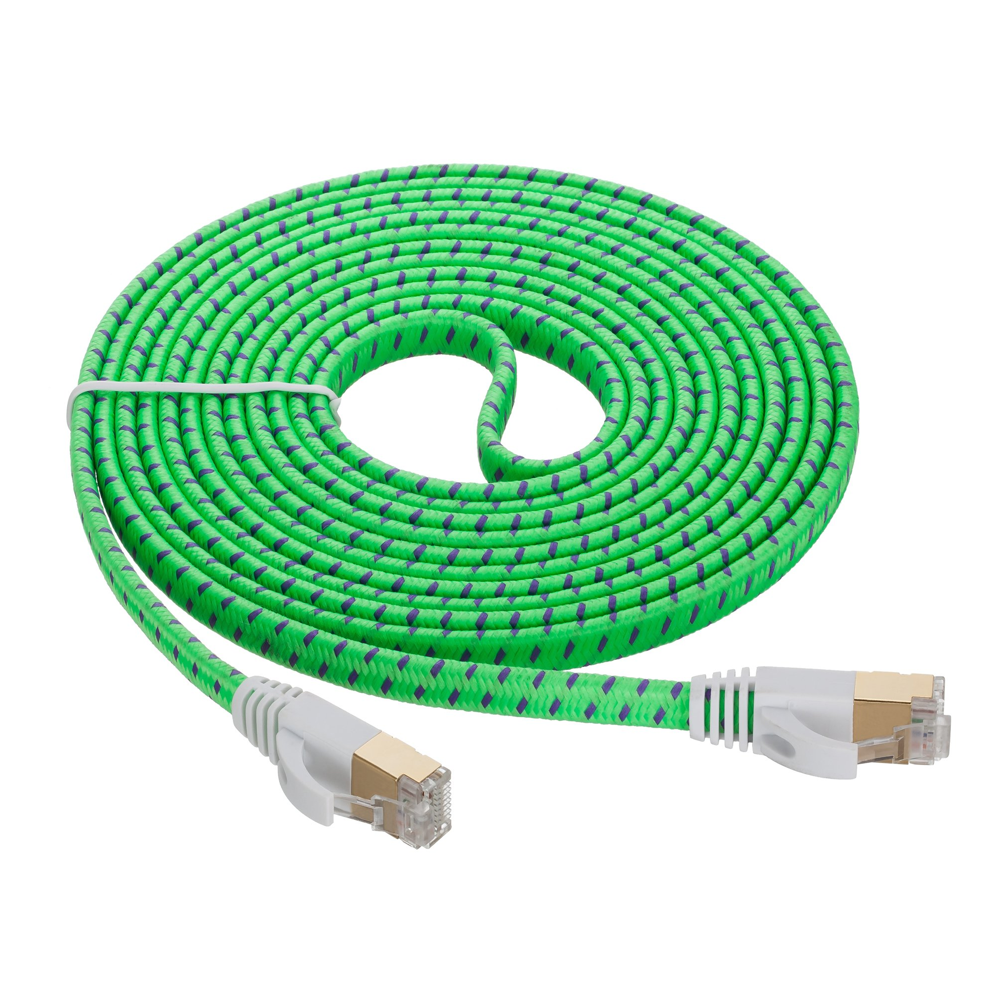 Cat 7 Ethernet Cable 15 ft,JewMod Ethernet Cable Cat7 RJ45 Network Patch Cable Flat 10 Gigabit 600Mhz LAN Wire Cable Cord Shielded for Modem,Router,PC,Laptop,Switch,Xbox 360-White 15Ft .