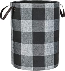 WEHUSE Dirty Clothes Hamper Kids Laundry Basket, 22 Inch Tall Gray Thick Canvas Collapsible Hamper with Support Pole