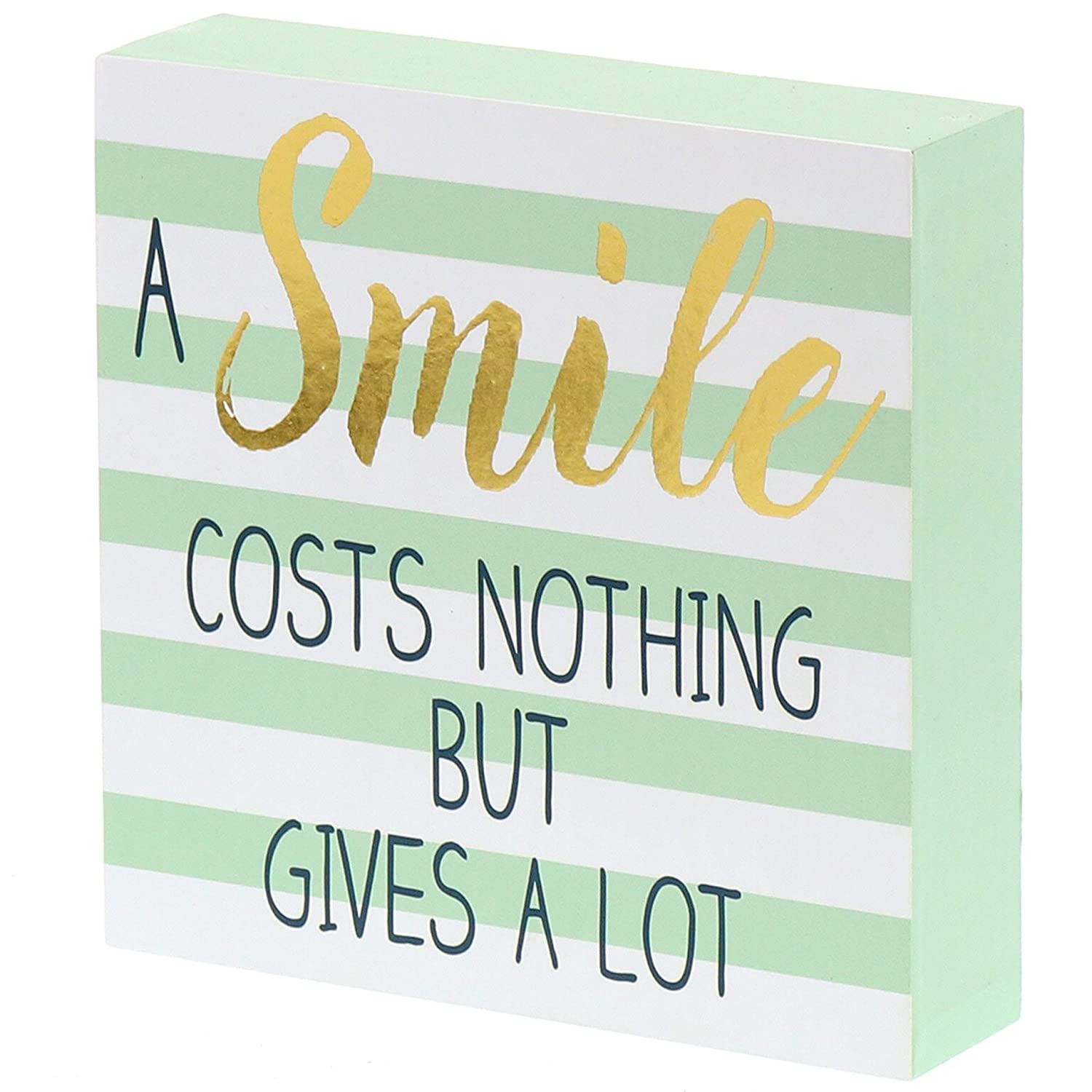 """Barnyard Designs A Smile Costs Nothing But Gives A Lot Wooden Box Wall Art Sign, Primitive Country Farmhouse Home Decor Sign with Sayings 6"""" x 6"""""""