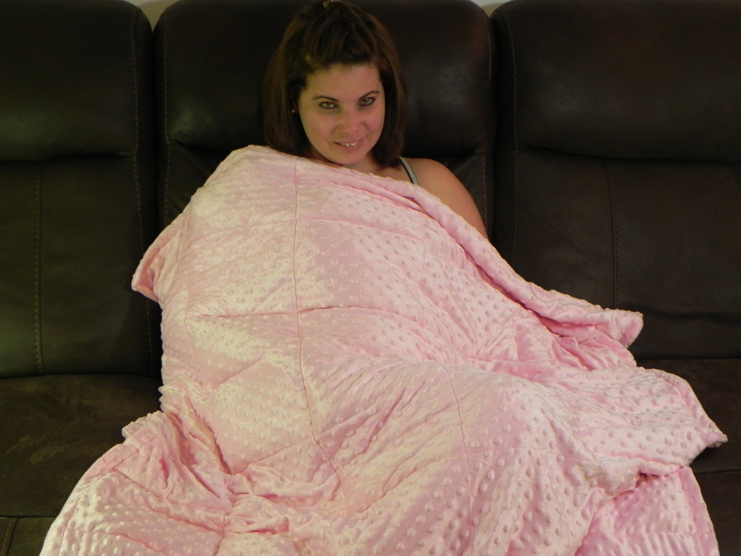 Weighted Blanket for Autism & Anxiety - Great for Sensory Processing Disorder 60 x 40 inch (pink, 14 lbs)
