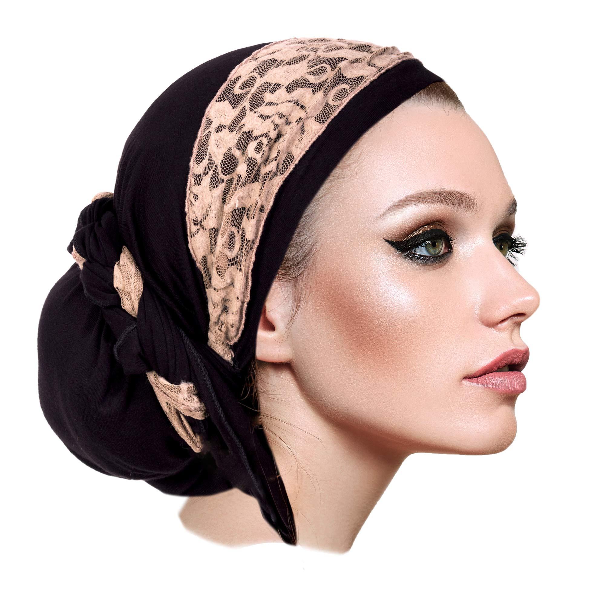 ShariRose Boho Chic Long Black Headscarf Tichel Headwear for Women with Vintage Cream lace wrap! Handmade 076 by ShariRose