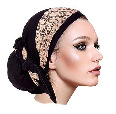 7fabc12bfbadd Black Pre-Tied Head Scarf Boho Chic Bandana Tichel Vintage Cream ...