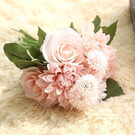 Fiori Bianchi Per Te Accordi.Silk Decorazioni Nuziali Dahlia E Fiori Di Seta Rosa Vero Tocco