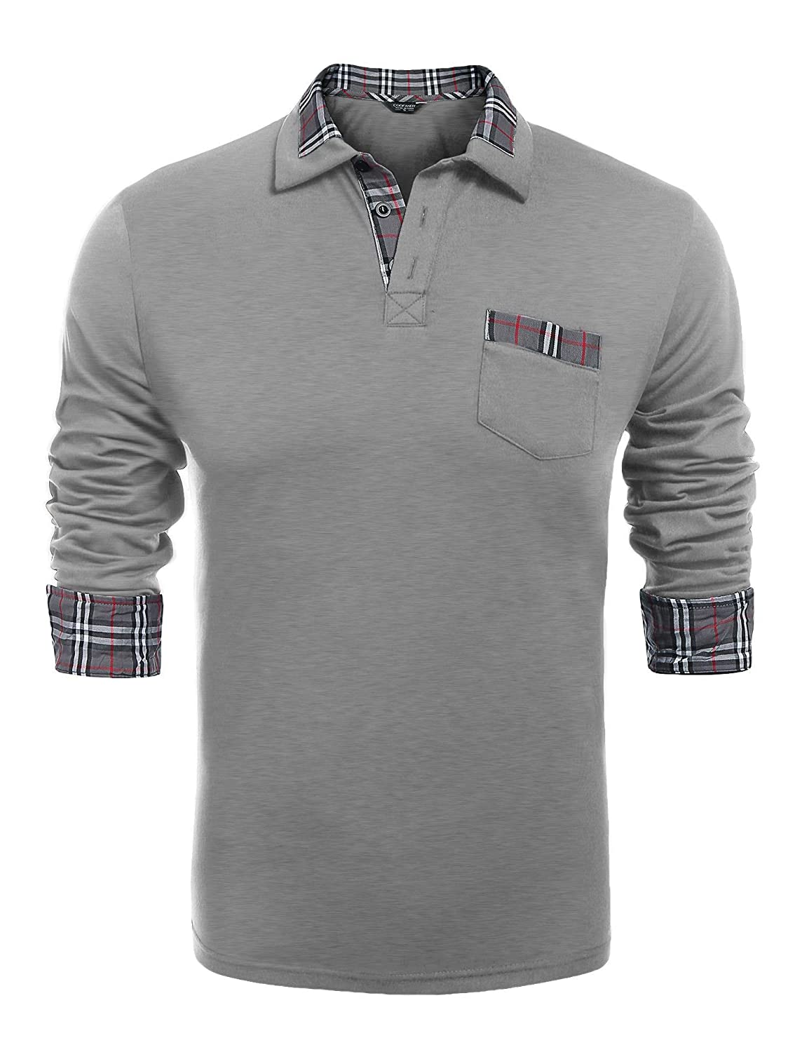 COOFANDY Men's Classic Casual Long Sleeve Plaid Collar Polo Shirt with Pockets