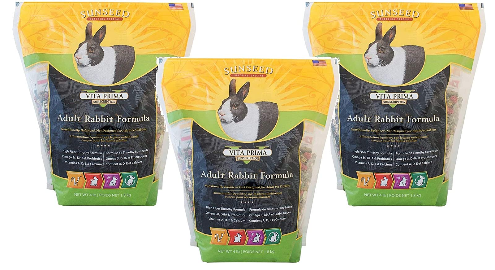 (3 Pack) Vita Prima Rabbit Formula (4 lb. Bag) 8 OZ - 1