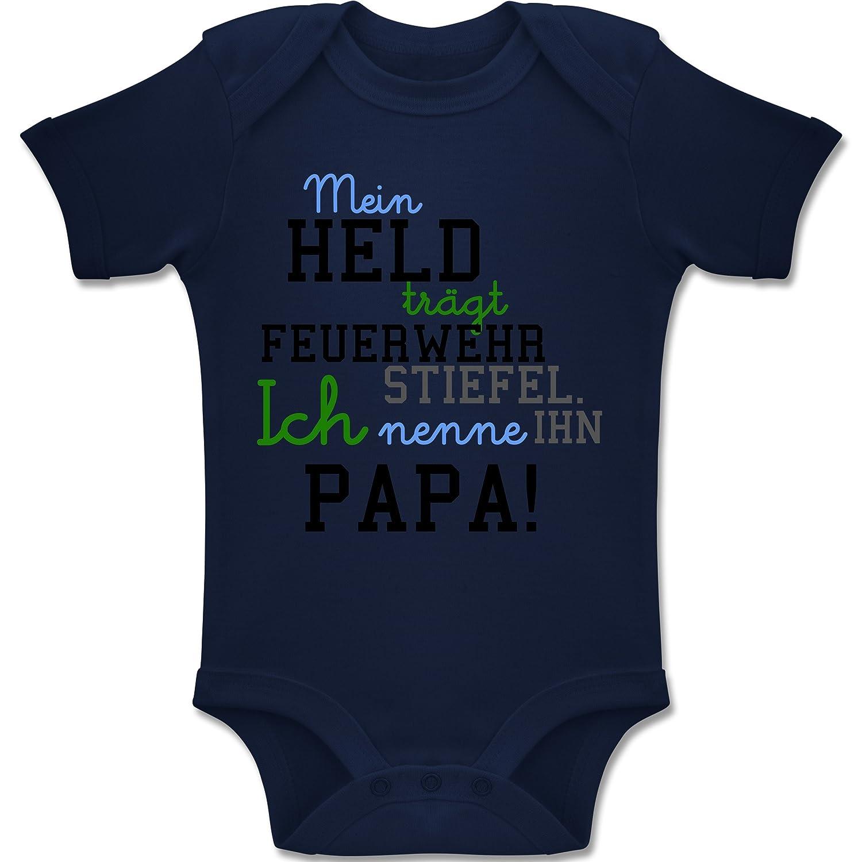 Feuerwehr Baby - Mein Held Papa Feuerwehr Junge - Baby Body Kurzarm Jungen Mädchen Shirtracer BZ10