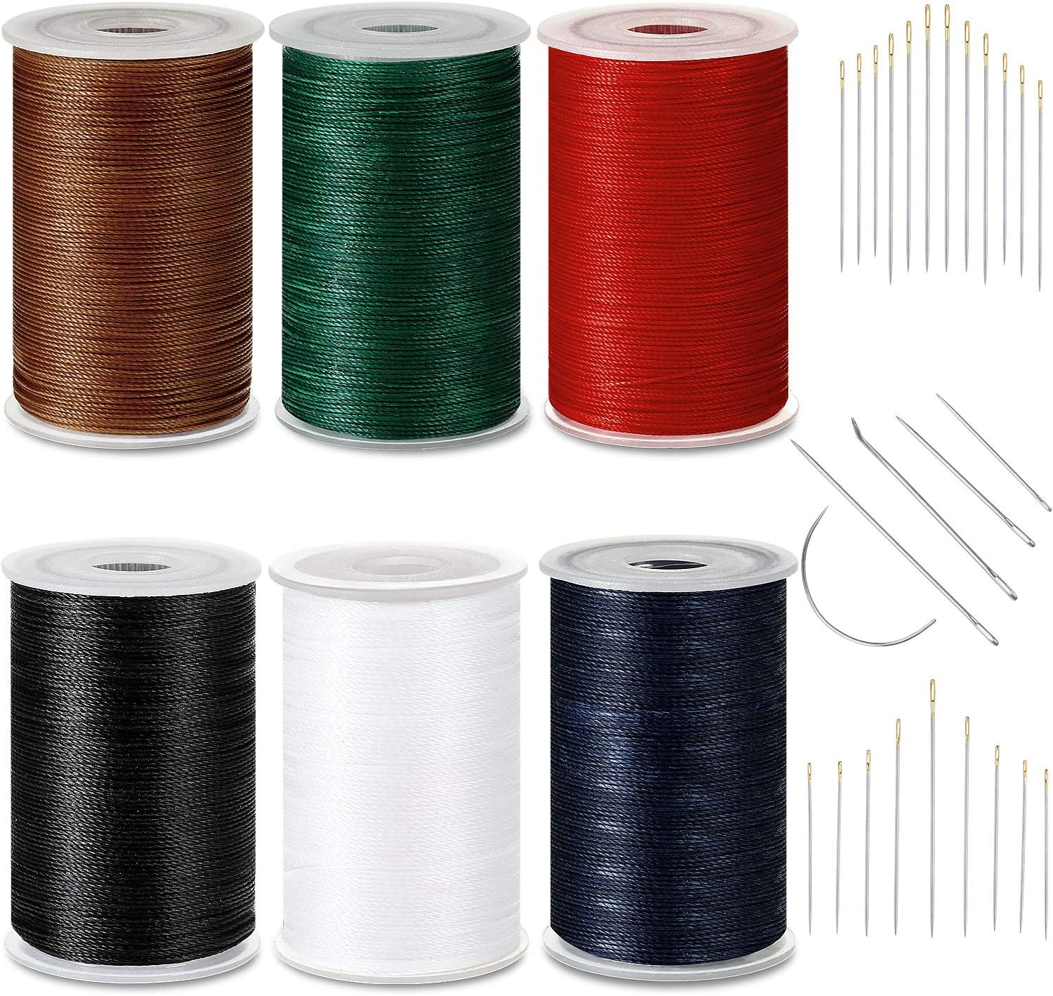 6 Color Strong Upholstery Thread High Strength Sewing Waxed Threads with Hand Stitching Needles Set for Denim Leather Craft DIY and Machine Sewing (Black, White, Red, Dark Blue, Dark Green, Brown)