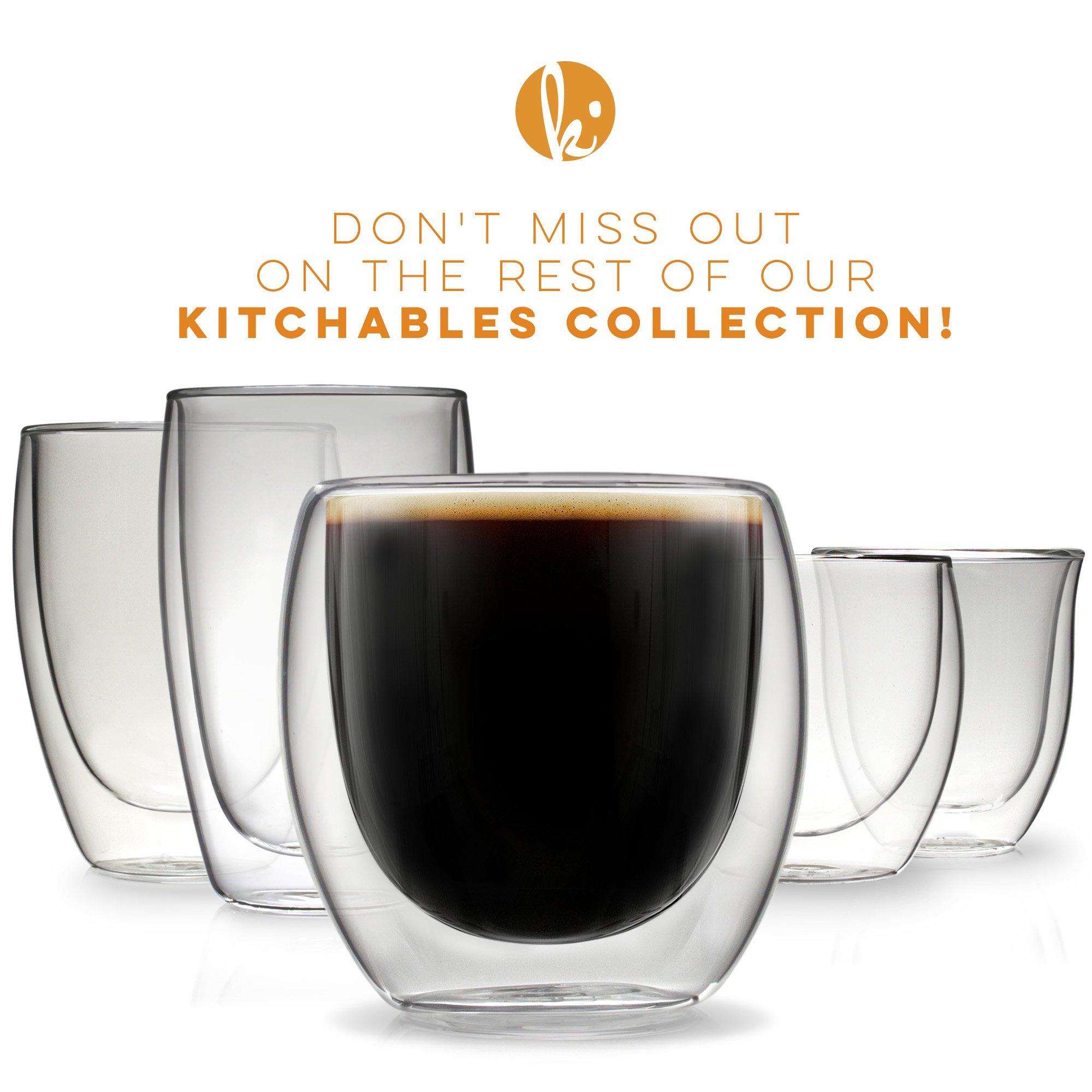 Espresso Cups Shot Glass Coffee Set of 4 - Double Wall Thermo Insulated by Kitchables (Image #7)