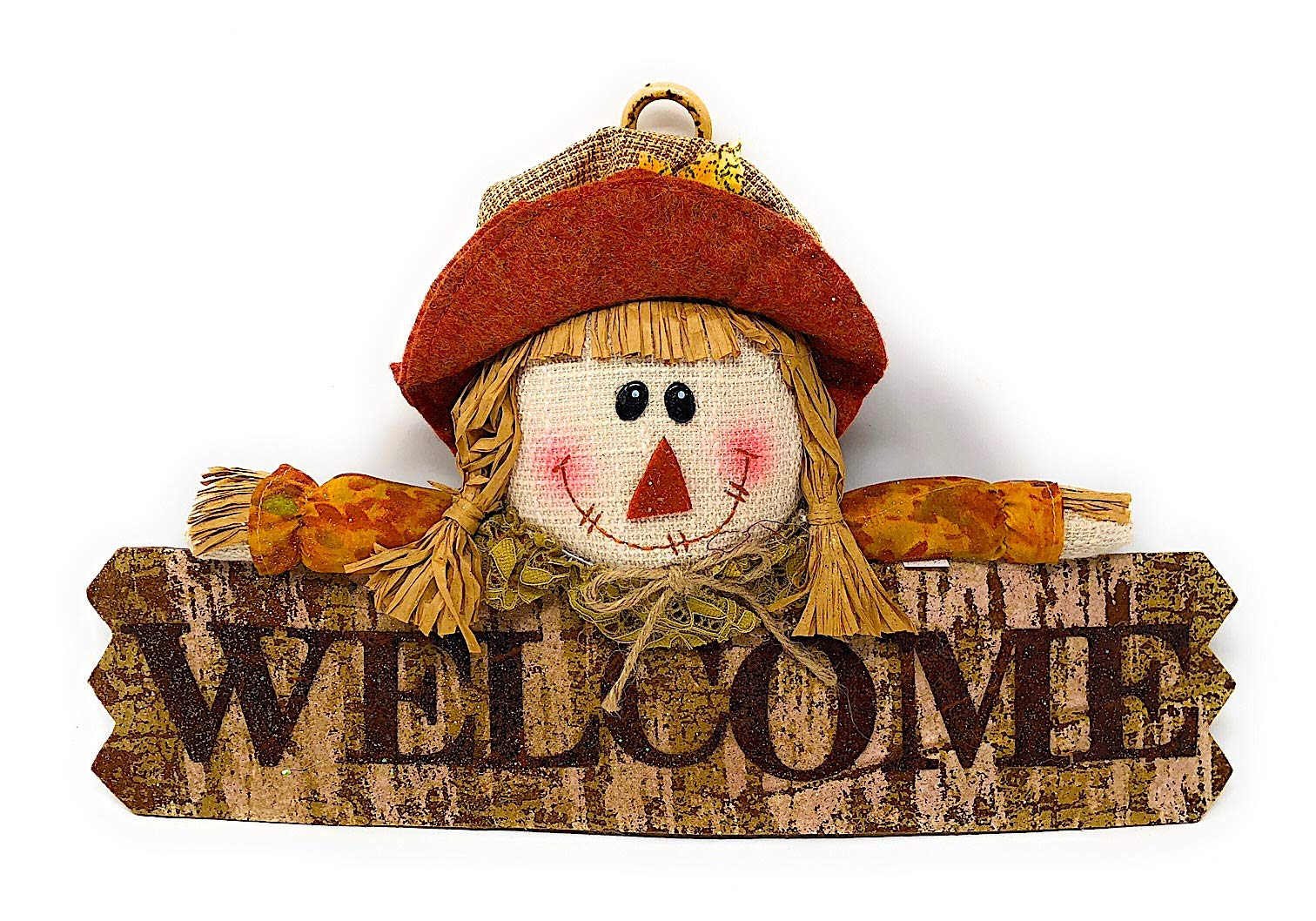 Hanna's Handiworks Harvest Thanksgiving Fall Door Wall Wreath Room Decor Welcome Girl Scarecrow Sign 17'' x 10'' (Welcome)
